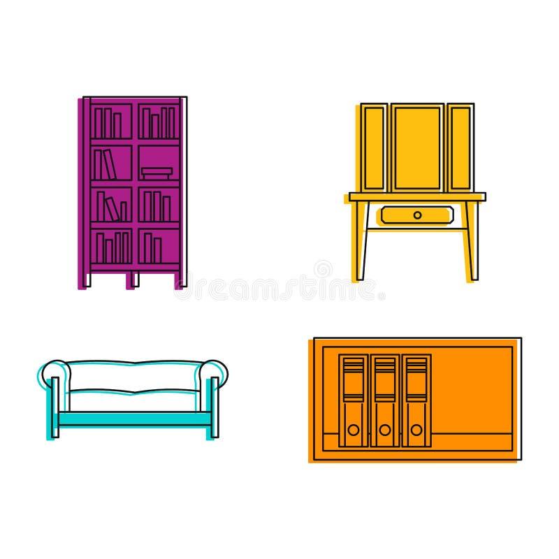 Grupo do ícone da mobília, estilo do esboço da cor ilustração do vetor