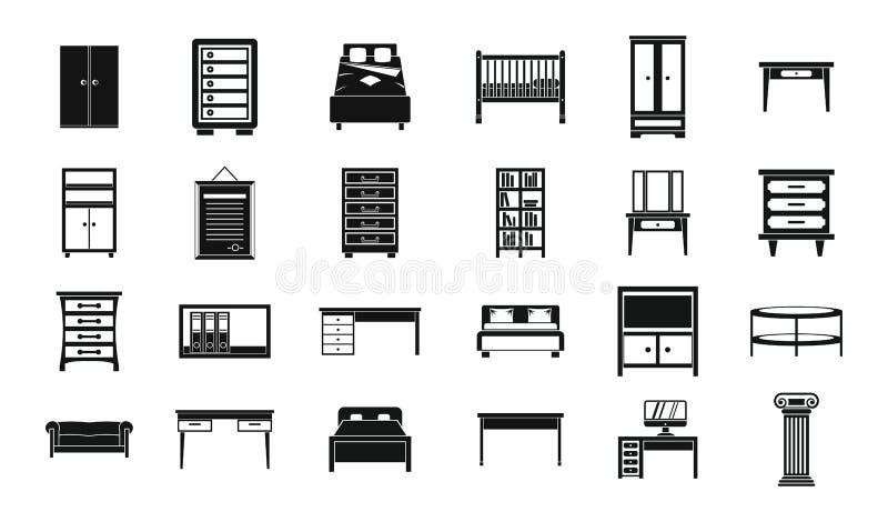 Grupo do ícone da mobília, estilo simples ilustração royalty free