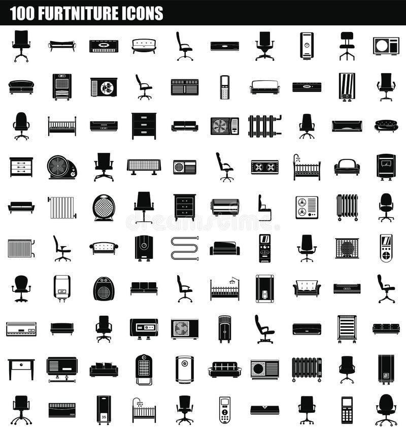 grupo do ícone da mobília 100, estilo simples ilustração stock
