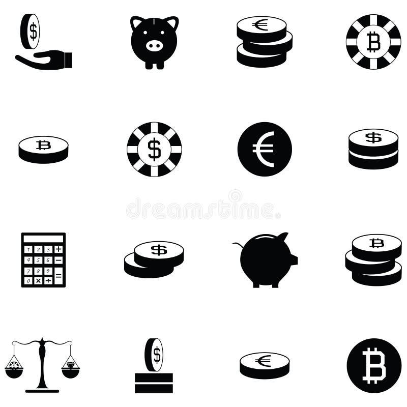 Grupo do ícone da moeda ilustração royalty free