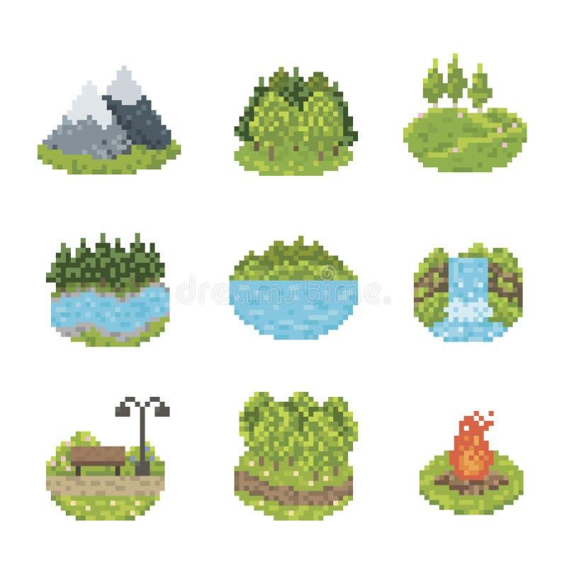 Grupo do ícone da natureza ilustração stock