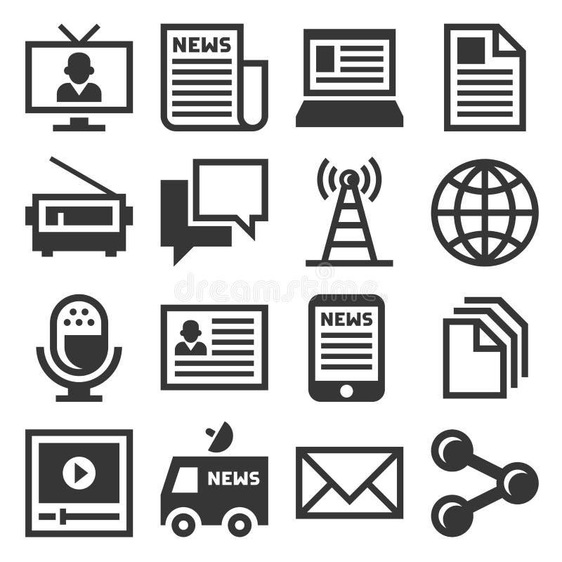 Grupo do ícone da notícia dos meios Vetor ilustração stock