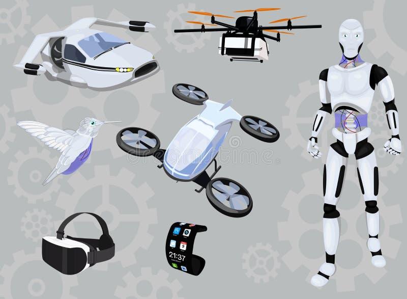 Grupo do ícone da nova tecnologia, coleção moderna do dispositivo, esboços do vetor, ilustrações do logotipo, pictograma realísti ilustração do vetor