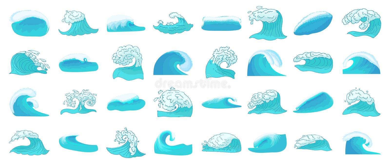 Grupo do ícone da onda, estilo dos desenhos animados ilustração royalty free