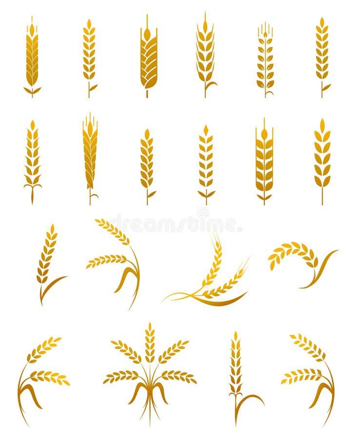 Grupo do ícone da orelha do trigo ilustração stock