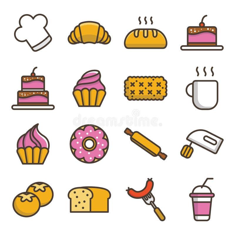 Grupo do ícone da padaria do bolo ilustração royalty free