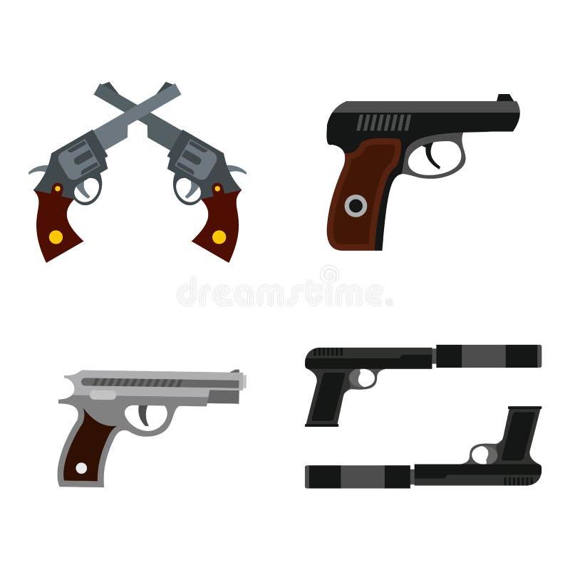 Grupo do ícone da pistola, estilo liso ilustração do vetor