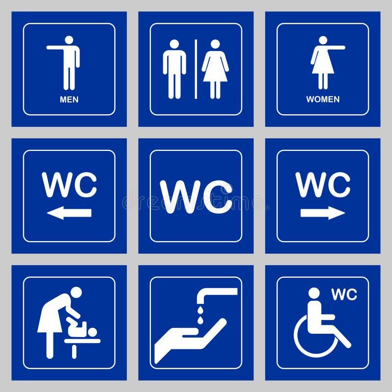 Grupo do ícone da placa da porta do WC/toalete Sinal do WC dos homens e das mulheres para o toalete ilustração do vetor