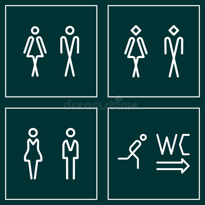 Grupo do ícone da placa da porta do WC/toalete Sinal do WC dos homens e das mulheres para o toalete ilustração royalty free