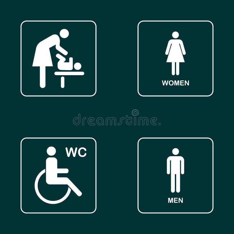 Grupo do ícone da placa da porta do WC/toalete Sinal do WC dos homens e das mulheres para o toalete ilustração stock