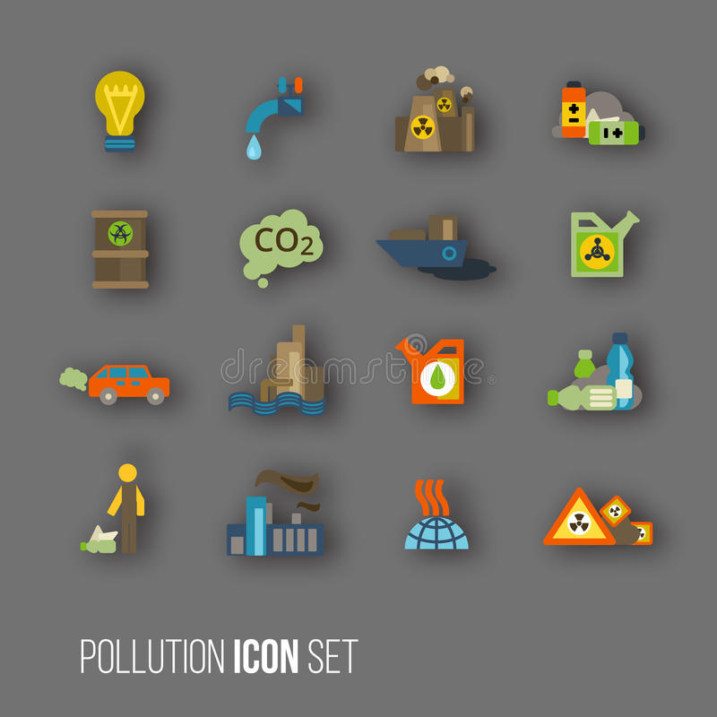 Grupo do ícone da poluição ilustração do vetor