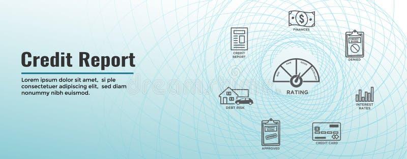 Grupo do ícone da pontuação de crédito e bandeira de encabeçamento da Web - cartão de crédito realístico de w da carta ou do gráf ilustração do vetor