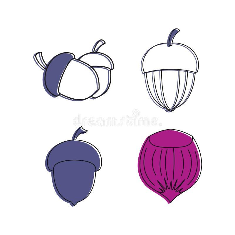 Grupo do ícone da porca da floresta, estilo do esboço da cor ilustração do vetor