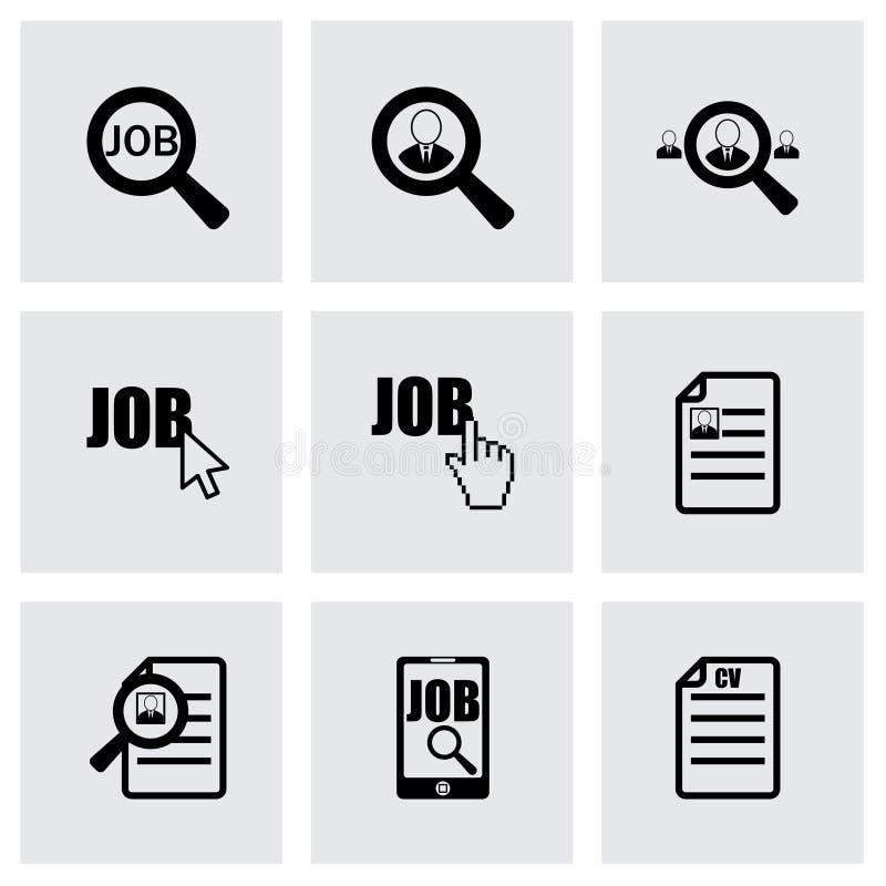 Grupo do ícone da procura de emprego do vetor ilustração stock