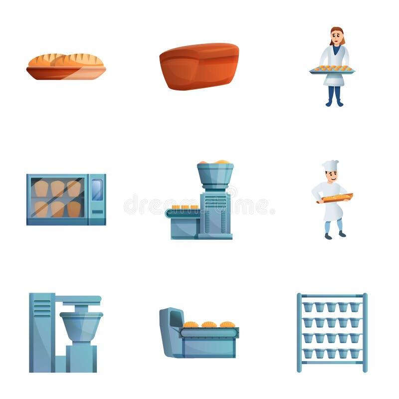 Grupo do ícone da produção da fábrica da padaria, estilo dos desenhos animados ilustração do vetor