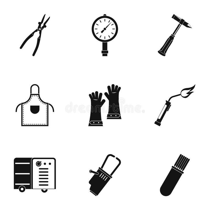 Grupo do ícone da profissão do soldador, estilo simples ilustração do vetor