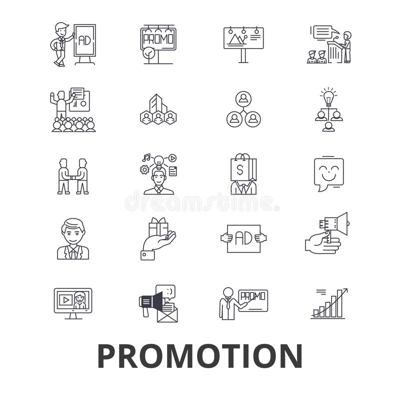 Grupo do ícone da promoção ilustração stock