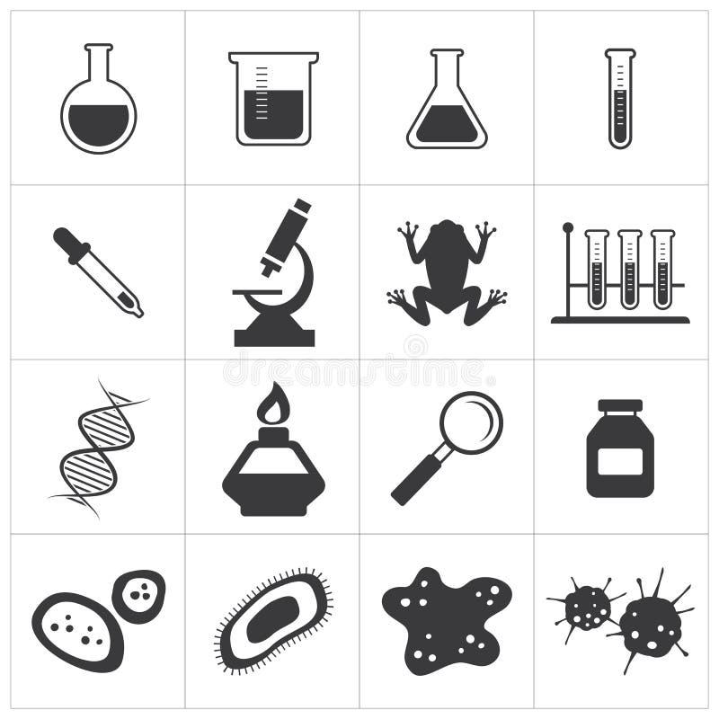 Grupo do ícone da química e da biologia ilustração royalty free