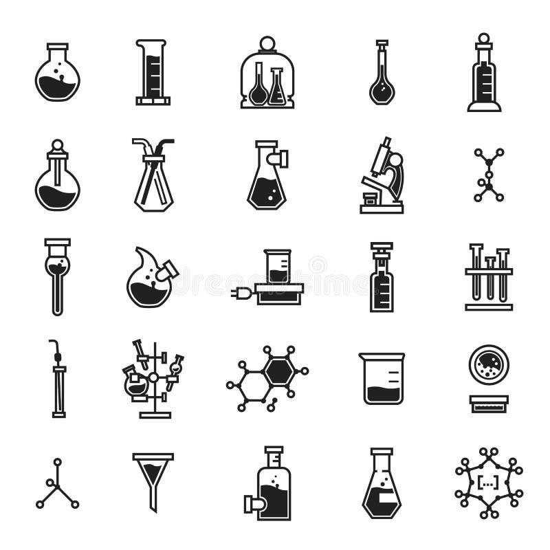 Grupo do ícone da química, estilo simples ilustração do vetor