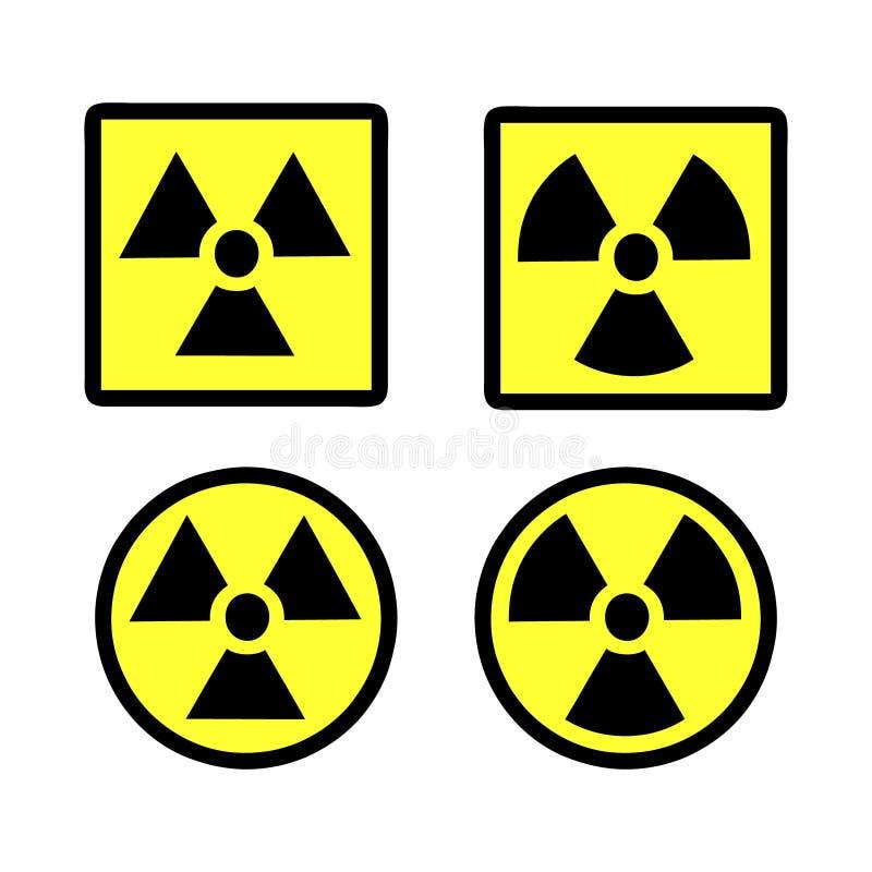 Grupo do ícone da radiação foto de stock royalty free