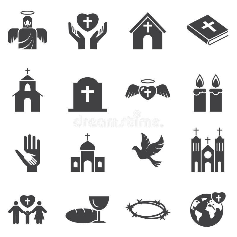 Grupo do ícone da religião da cristandade ilustração stock
