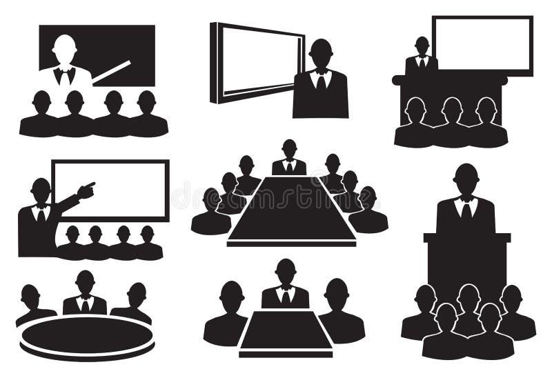 Grupo do ícone da reunião de negócios ilustração do vetor