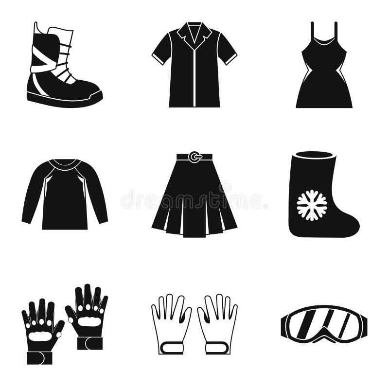 Grupo do ícone da roupa da estação, estilo simples ilustração stock