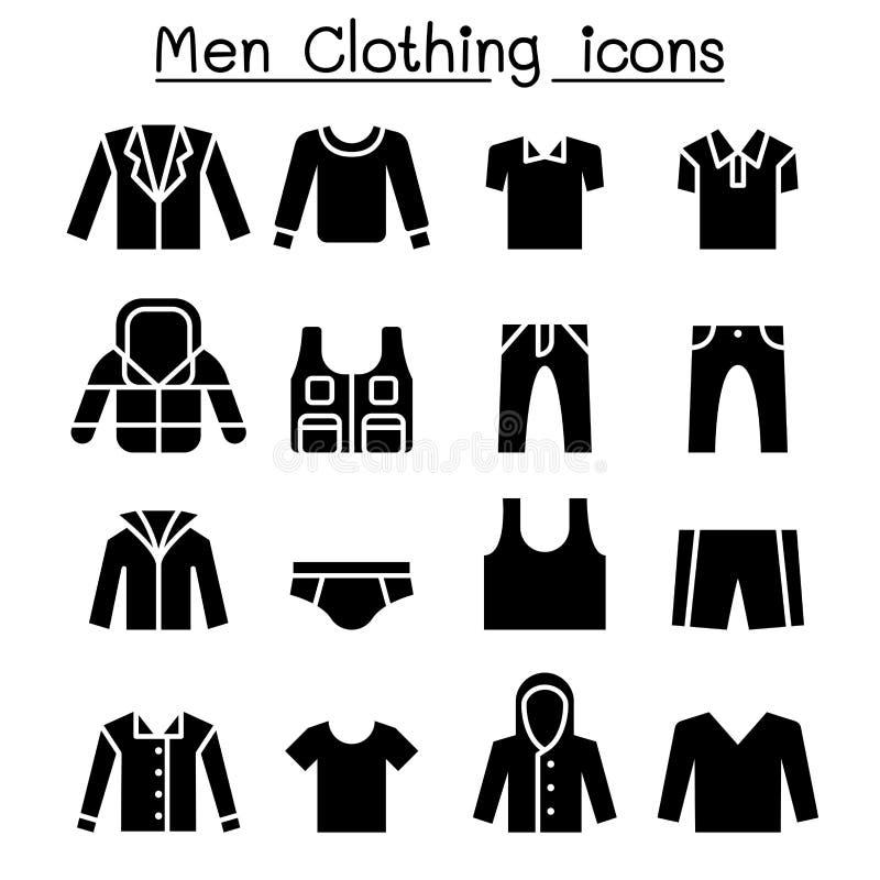 Grupo do ícone da roupa do homem ilustração royalty free
