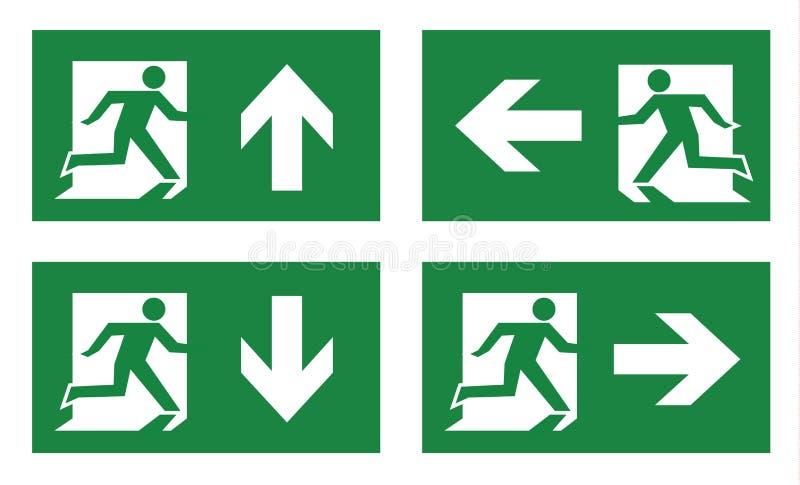 Grupo do ícone da saída de emergência ilustração do vetor