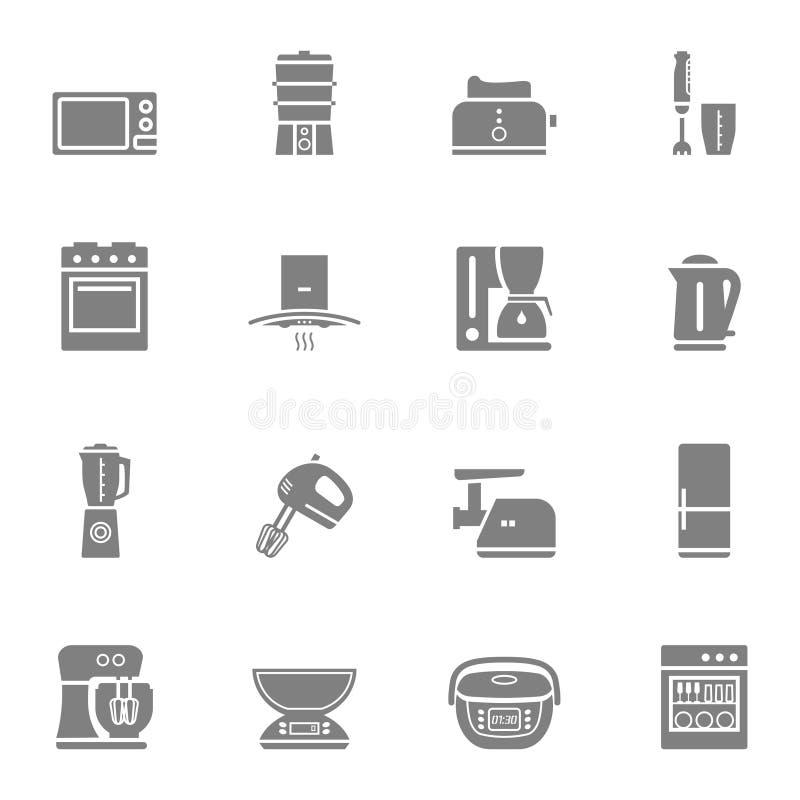 Grupo do ícone da silhueta do vetor dos dispositivos de cozinha imagens de stock
