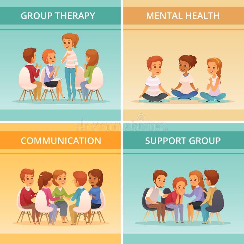 Grupo do ícone da terapia do grupo dos desenhos animados ilustração stock