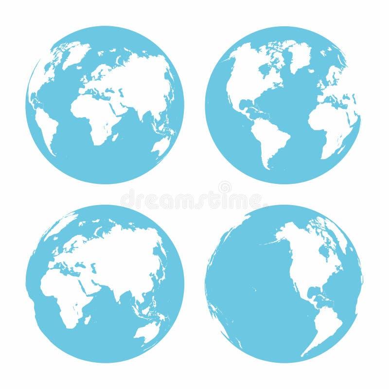 Grupo do ícone da terra do planeta Globo da terra no fundo branco Partes diferentes do planeta ilustração stock