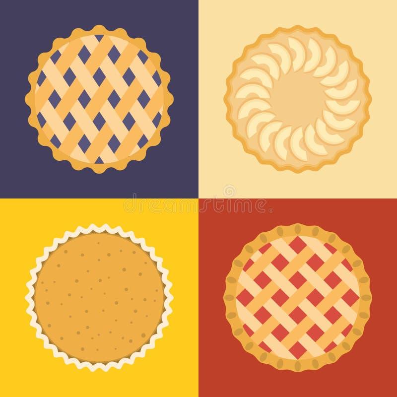 Grupo do ícone da torta ilustração royalty free