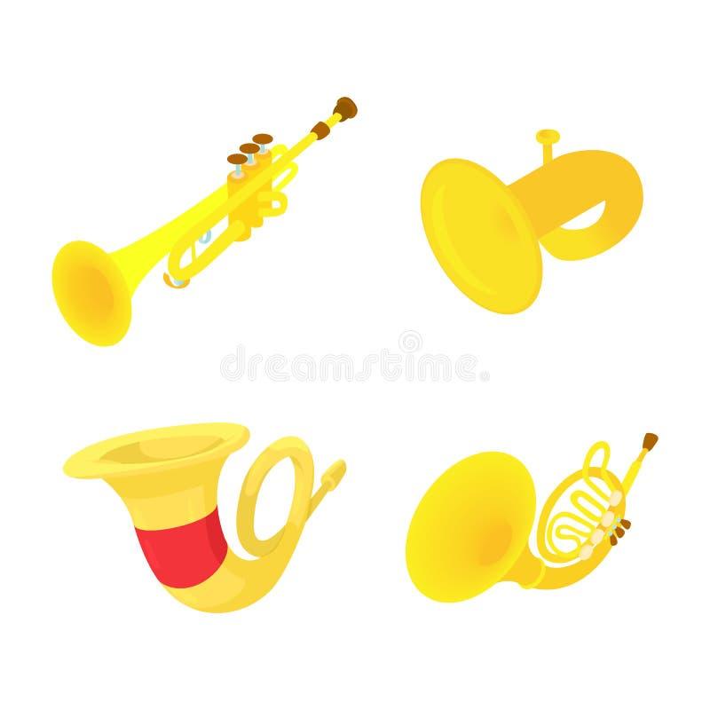 Grupo do ícone da trombeta, estilo dos desenhos animados ilustração royalty free