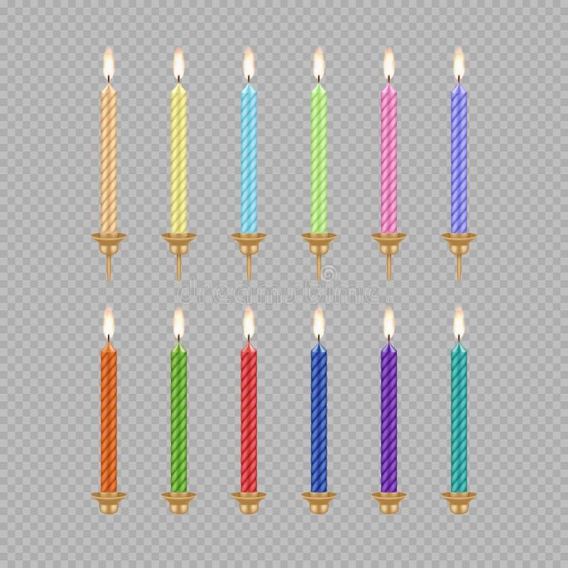 Grupo do ícone da vela do bolo de aniversário do vetor ilustração do vetor