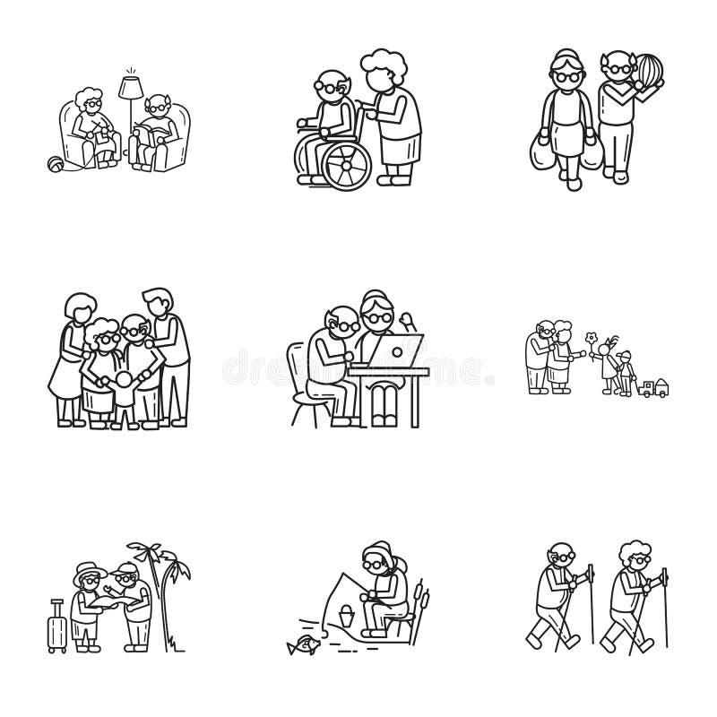 Grupo do ícone da vida da pessoa mais idosa, estilo do esboço ilustração stock