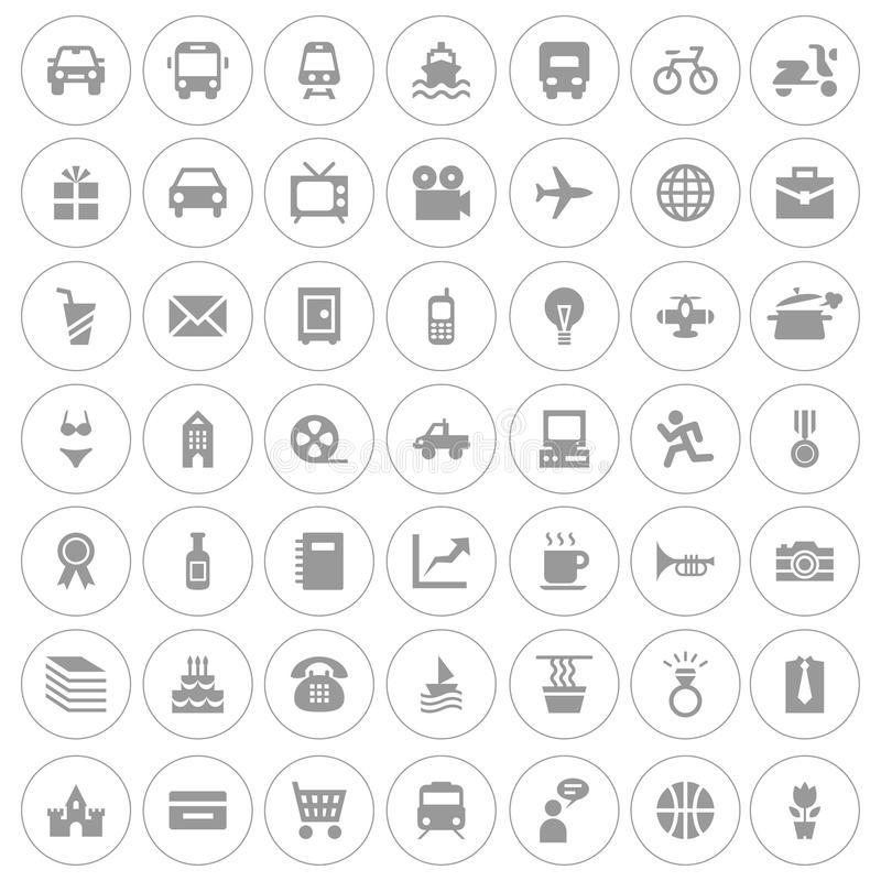 Grupo do ícone da Web ilustração stock