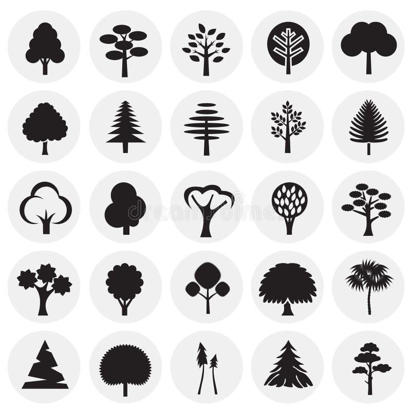 Grupo do ícone das árvores no fundo dos círculos para o gráfico e o design web, sinal simples moderno do vetor Conceito do Intern ilustração stock