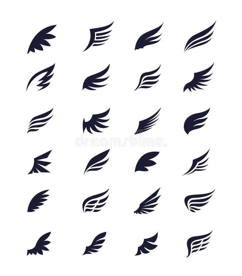 Grupo do ícone das asas ilustração stock