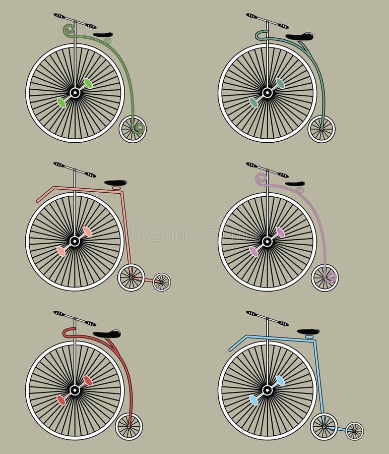 Grupo do ícone das bicicletas do vintage ilustração stock