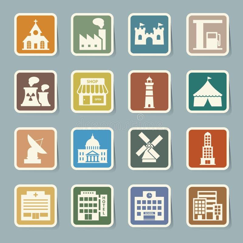 Grupo do ícone das construções ilustração stock