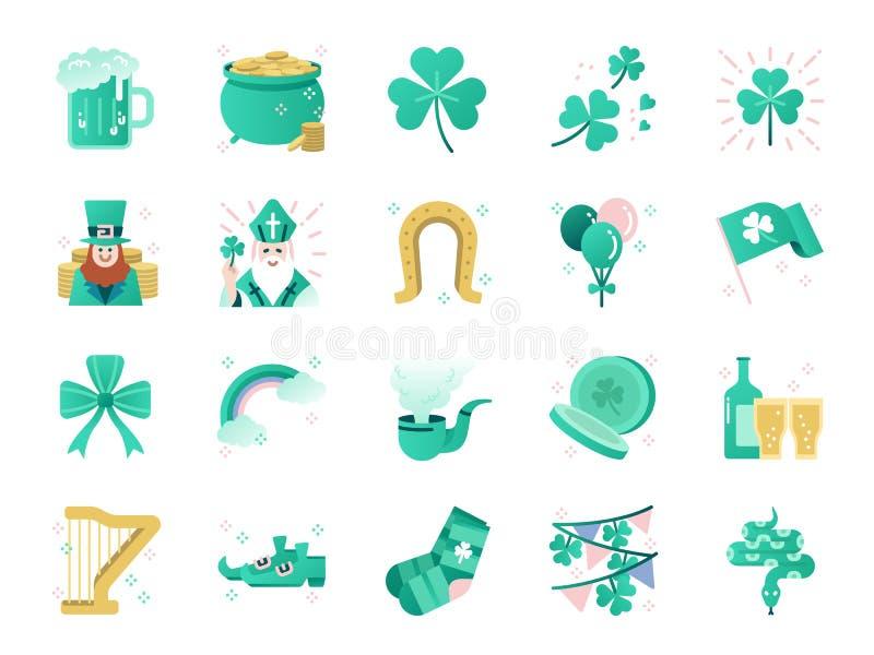 Grupo do ícone das cores do dia de St Patrick Ícones incluídos como o trevo, a folha do trevo, celebração, feriado, partido e mai ilustração royalty free