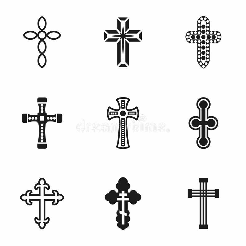 Grupo do ícone das cruzes do vetor ilustração royalty free