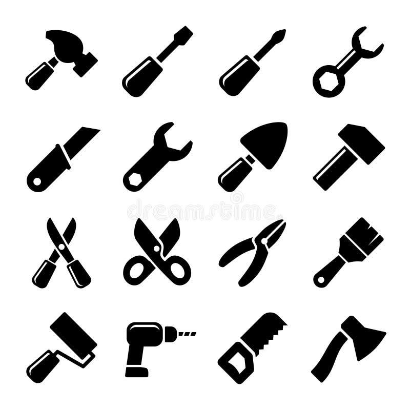 Grupo do ícone das ferramentas de funcionamento ilustração royalty free