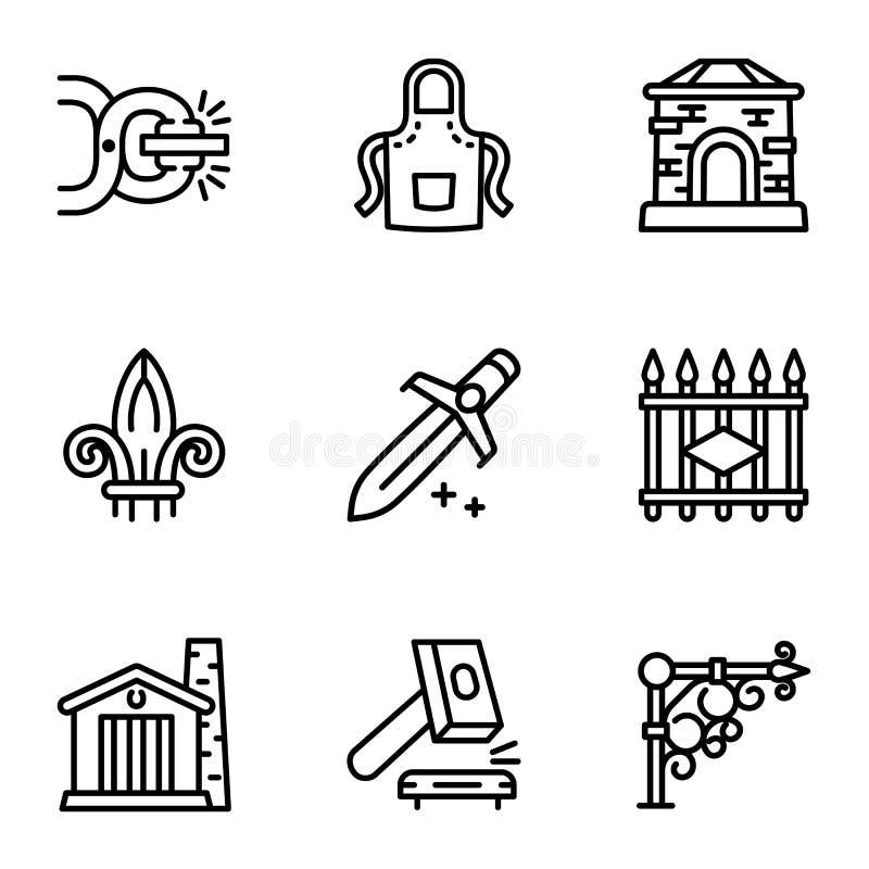 Grupo do ícone das ferramentas do ferreiro, estilo do esboço ilustração stock
