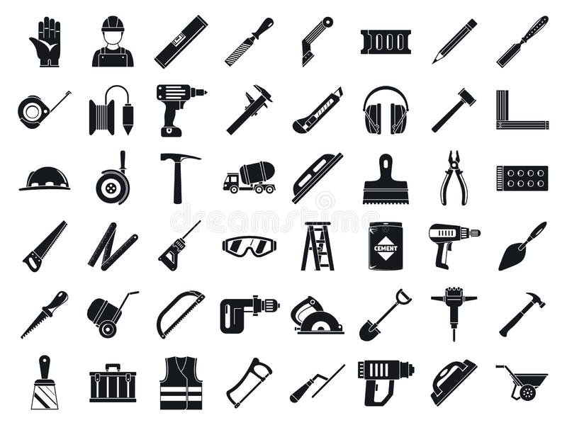 Grupo do ícone das ferramentas do trabalhador da alvenaria, estilo simples ilustração do vetor