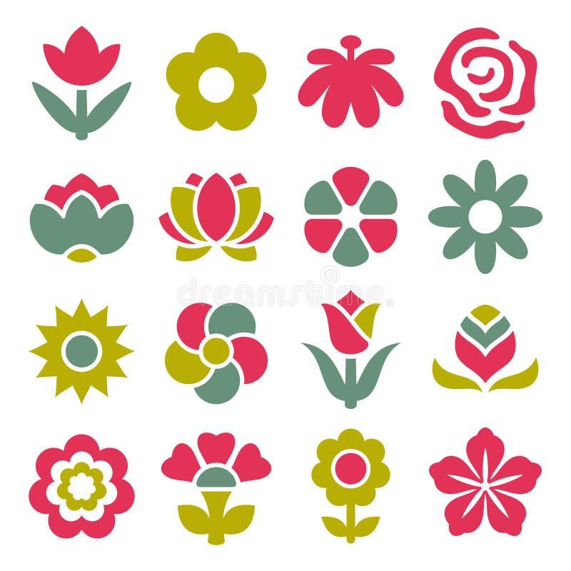 Grupo do ícone das flores ilustração stock