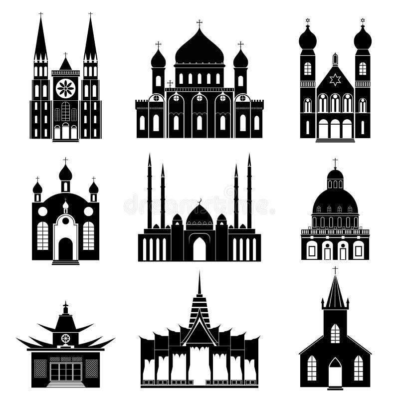 Grupo do ícone das igrejas pretas e dos templos da silhueta dos desenhos animados Vetor ilustração royalty free