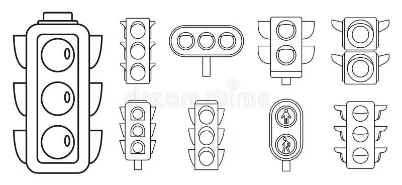 Grupo do ícone das luzes de tráfego rodoviário, estilo do esboço ilustração do vetor