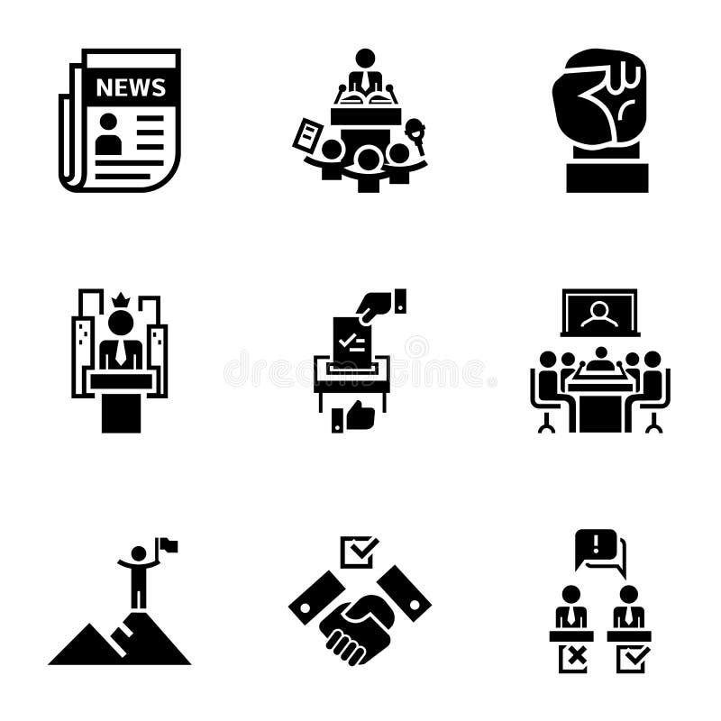 Grupo do ícone das notícias políticas, estilo simples ilustração royalty free